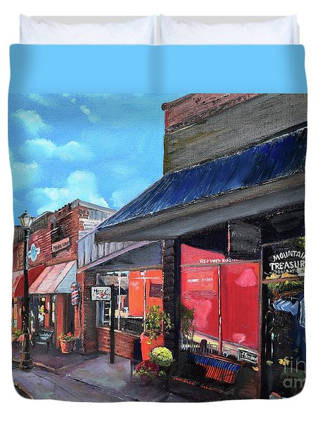 Duvet Cover featuring the painting Main Street Ellijay - Mountain Treasures - On The Square by Jan Dappen