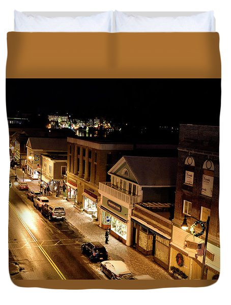 Main Street - Lake Placid New York Duvet Cover by Brendan Reals