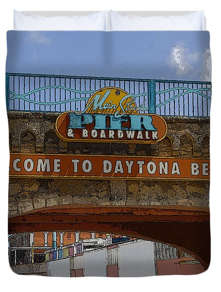 Main Street Pier And Boardwalk Duvet Cover by David Lee Thompson