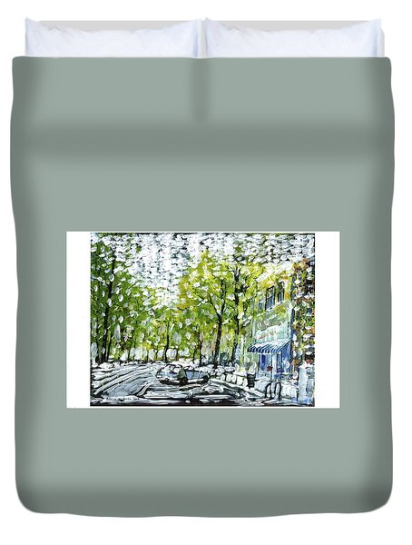 Main Street Snow Duvet Cover