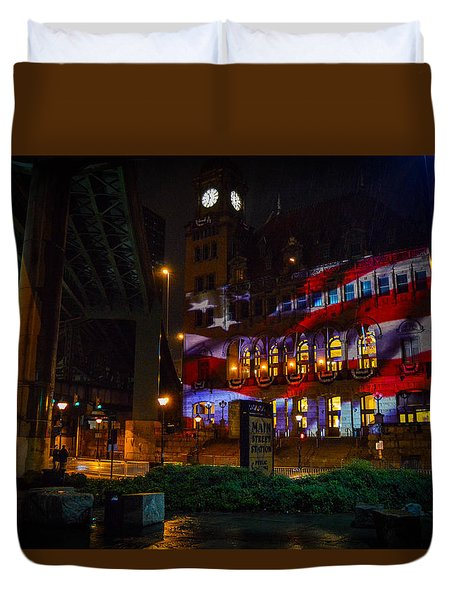 Main Street Station At Night Duvet Cover
