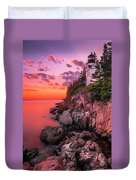 Duvet Cover featuring the photograph Maine Bass Harbor Lighthouse Sunset by Ranjay Mitra