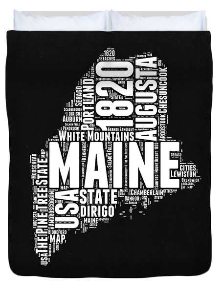 Maine Black And White Map Duvet Cover