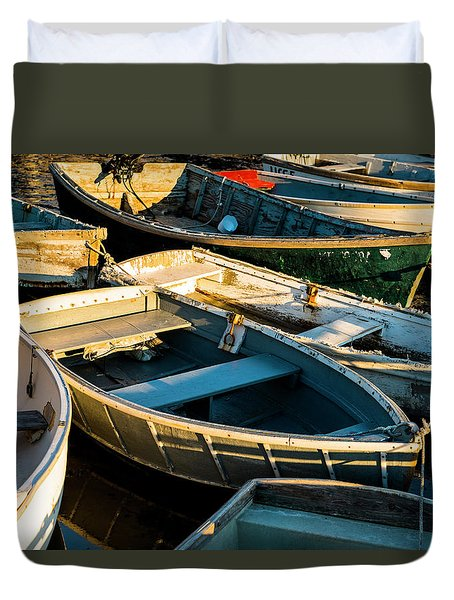 Maine Boats At Sunset Duvet Cover
