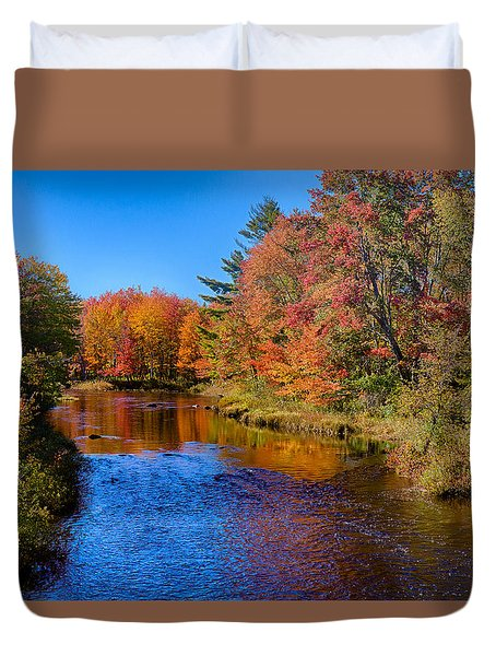Maine Brook In Afternoon With Fall Color Reflection Duvet Cover
