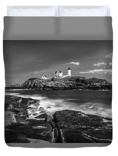 Duvet Cover featuring the photograph Maine Cape Neddick Lighthouse In Bw by Ranjay Mitra