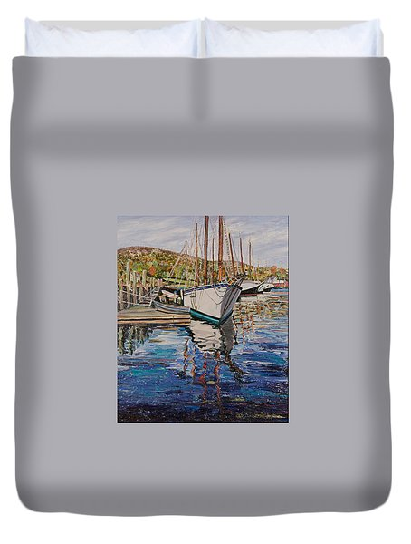 Maine Coast Boat Reflections Duvet Cover by Richard Nowak