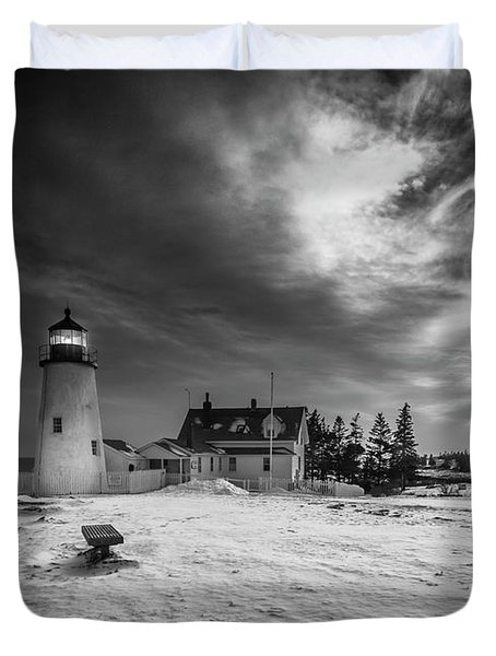 Maine Coastal Storm Over Pemaquid Lighthouse Duvet Cover