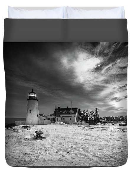 Duvet Cover featuring the photograph Maine Coastal Storm Over Pemaquid Lighthouse by Ranjay Mitra