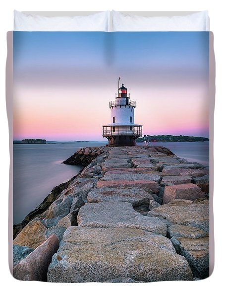 Duvet Cover featuring the photograph Maine Coastal Sunset Over The Spring Breakwater Lighthouse by Ranjay Mitra