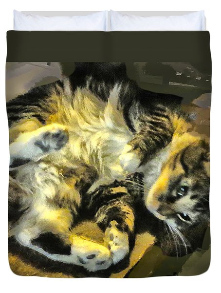 Duvet Cover featuring the photograph Maine Coon Cat At Play by Constantine Gregory