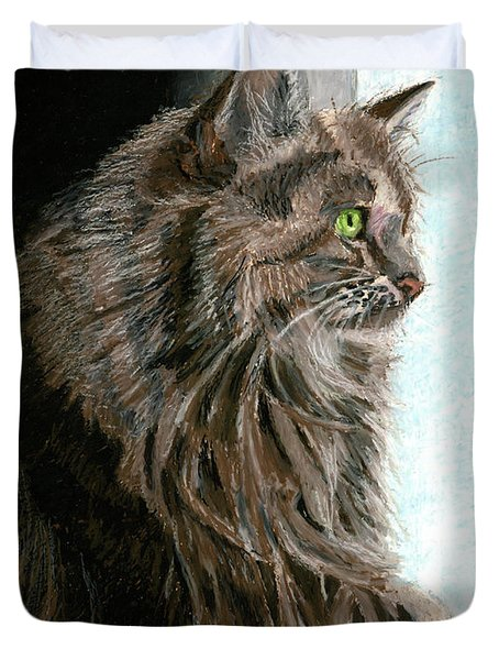 Maine Coon Cat In Window Duvet Cover