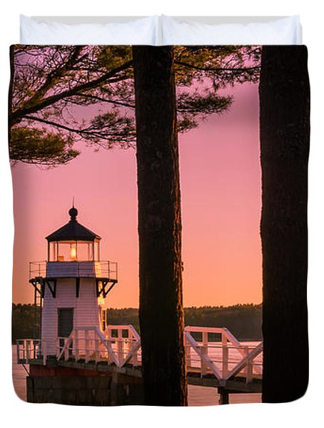 Maine Doubling Point Lighthouse At Sunset Panorama Duvet Cover