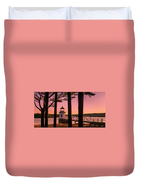 Duvet Cover featuring the photograph Maine Doubling Point Lighthouse At Sunset Panorama by Ranjay Mitra
