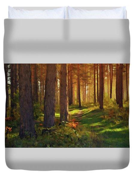 Maine Forest Sunset Duvet Cover by David Dehner