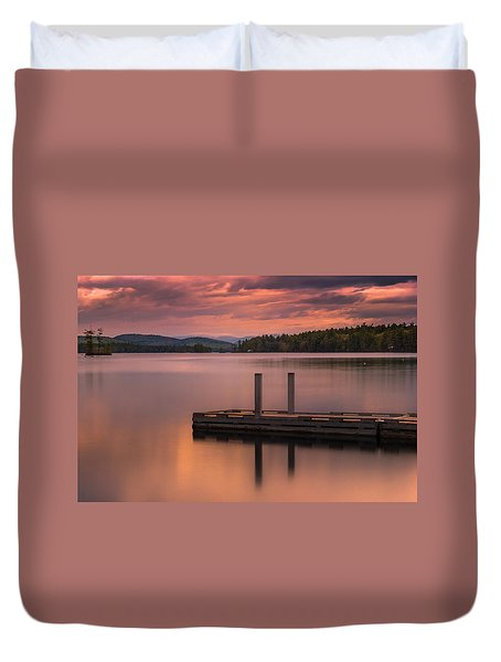Duvet Cover featuring the photograph Maine Highland Lake Boat Ramp At Sunset by Ranjay Mitra