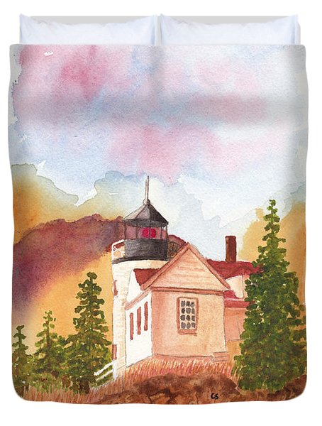 Maine Lighthouse In Morning Light Duvet Cover