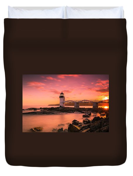 Duvet Cover featuring the photograph Maine Lighthouse Marshall Point At Sunset by Ranjay Mitra