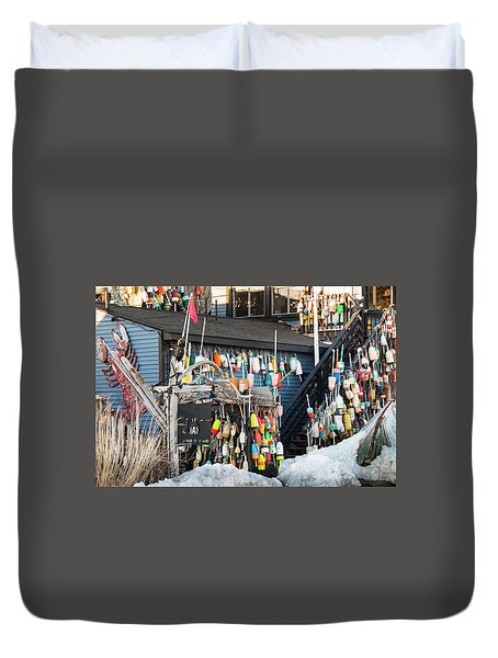 Duvet Cover featuring the photograph Maine Lobster Shack In Winter by Ranjay Mitra