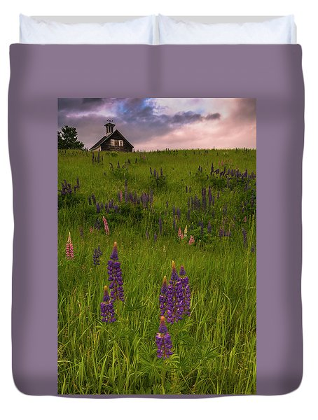 Duvet Cover featuring the photograph Maine Lupines And Home After Rain And Storm by Ranjay Mitra