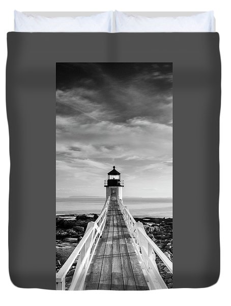 Duvet Cover featuring the photograph Maine Marshall Point Lighthouse Vertical Panorama In Black And White by Ranjay Mitra