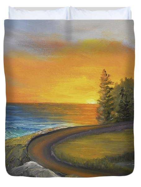 Maine Ocean Sunrise Duvet Cover