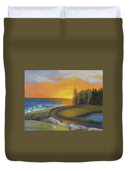 Maine Ocean Sunrise Duvet Cover