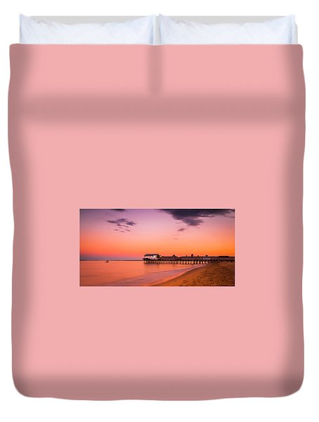Duvet Cover featuring the photograph Maine Old Orchard Beach Pier At Sunset by Ranjay Mitra