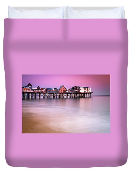 Duvet Cover featuring the photograph Maine Old Orchard Beach Pier Sunset  by Ranjay Mitra