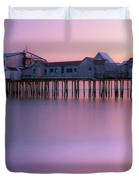 Maine Oob Pier At Sunset Panorama Duvet Cover