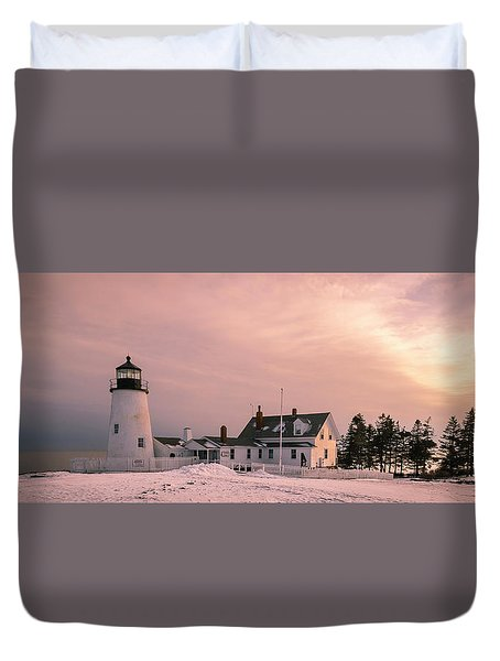 Duvet Cover featuring the photograph Maine Pemaquid Lighthouse After Winter Snow Storm by Ranjay Mitra