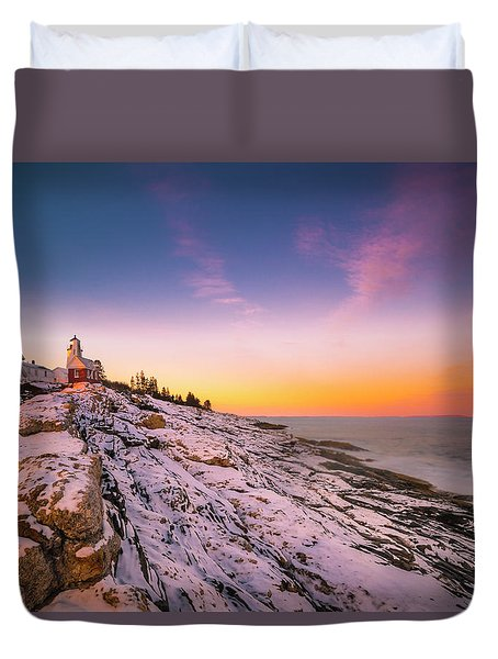 Duvet Cover featuring the photograph Maine Pemaquid Lighthouse In Winter Snow by Ranjay Mitra