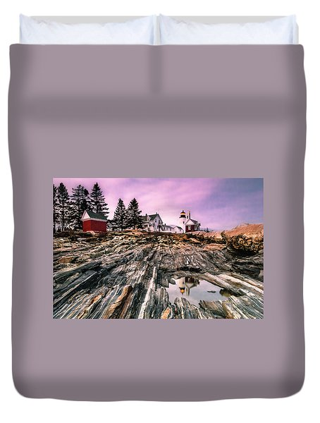 Duvet Cover featuring the photograph Maine Pemaquid Lighthouse Reflection In Summer by Ranjay Mitra