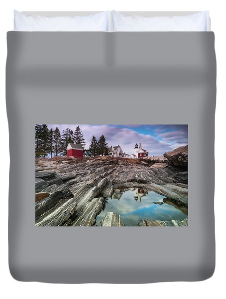 Duvet Cover featuring the photograph Maine Pemaquid Lighthouse Reflection by Ranjay Mitra