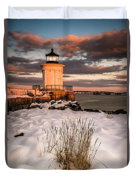 Duvet Cover featuring the photograph Maine Portland Bug Light Lighthouse Sunset  by Ranjay Mitra