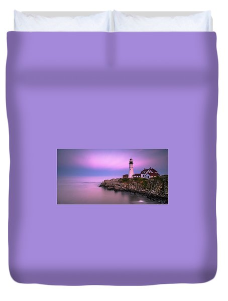 Duvet Cover featuring the photograph Maine Portland Headlight Blue Hour Panorama by Ranjay Mitra