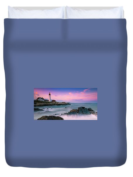 Duvet Cover featuring the photograph Maine Portland Headlight Lighthouse At Sunset Panorama by Ranjay Mitra
