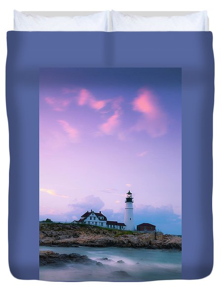 Duvet Cover featuring the photograph Maine Portland Headlight Lighthouse In Blue Hour by Ranjay Mitra