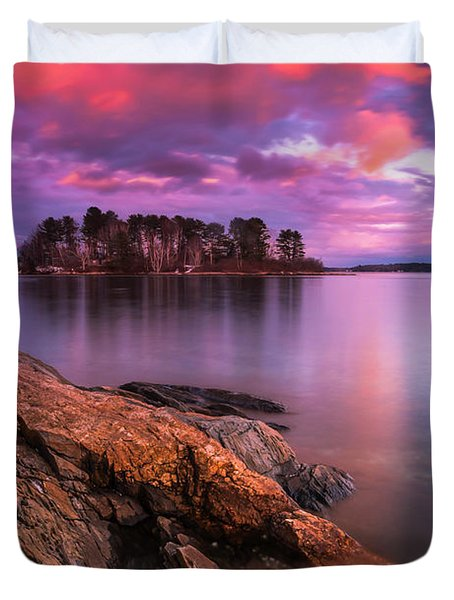 Maine Pound Of Tea Island Sunset At Freeport Duvet Cover