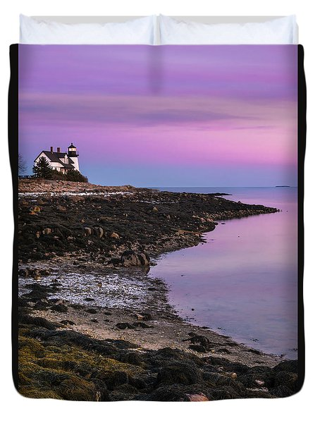Duvet Cover featuring the photograph Maine Prospect Harbor Lighthouse Sunset In Winter by Ranjay Mitra