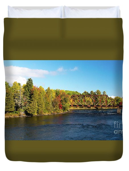 Maine Rail Line Duvet Cover