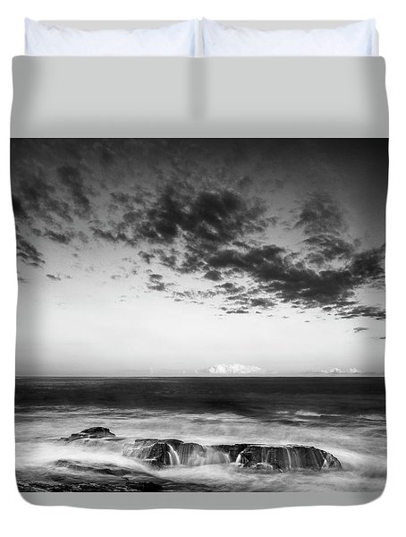 Duvet Cover featuring the photograph Maine Rocky Coast With Boulders And Clouds At Two Lights Park by Ranjay Mitra