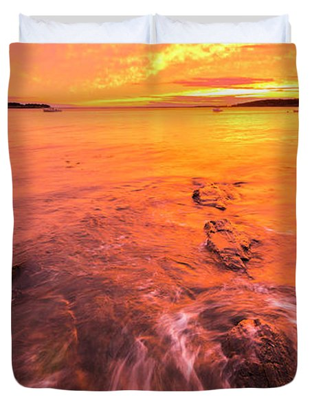 Maine Rocky Coastal Sunset At Kettle Cove Duvet Cover