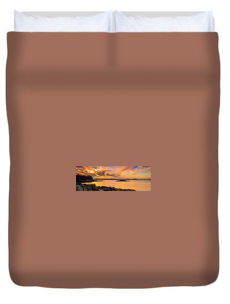 Maine Rocky Coastal Sunset In Penobscot Bay Panorama Duvet Cover