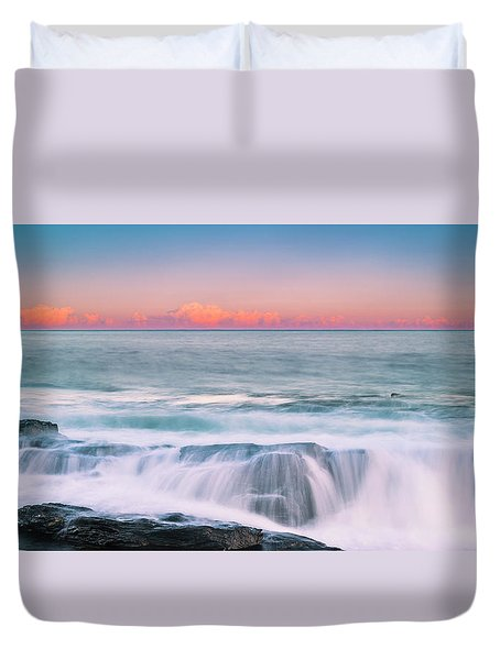 Duvet Cover featuring the photograph Maine Rocky Coastal Sunset Panorama by Ranjay Mitra