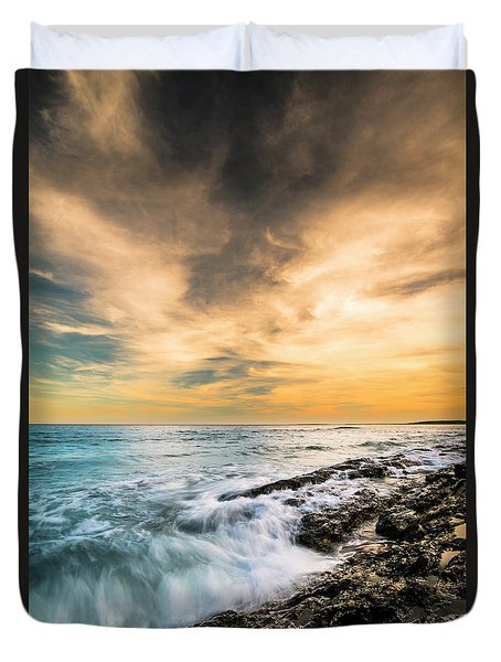 Duvet Cover featuring the photograph Maine Rocky Coastal Sunset by Ranjay Mitra