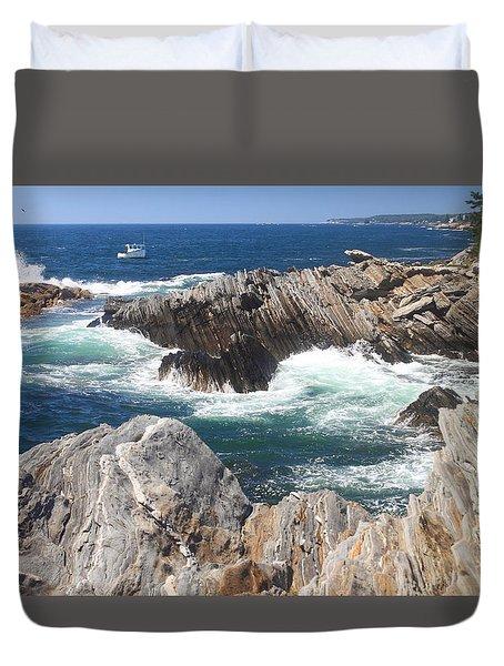 Maine Rocky Shore Laverna Preserve Duvet Cover