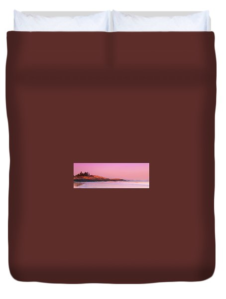 Duvet Cover featuring the photograph Maine Sheepscot River Bay With Cuckolds Lighthouse Sunset Panorama by Ranjay Mitra