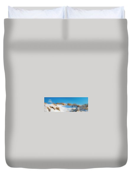 Duvet Cover featuring the photograph Maine Snow Dunes On Coast In Winter Panorama by Ranjay Mitra