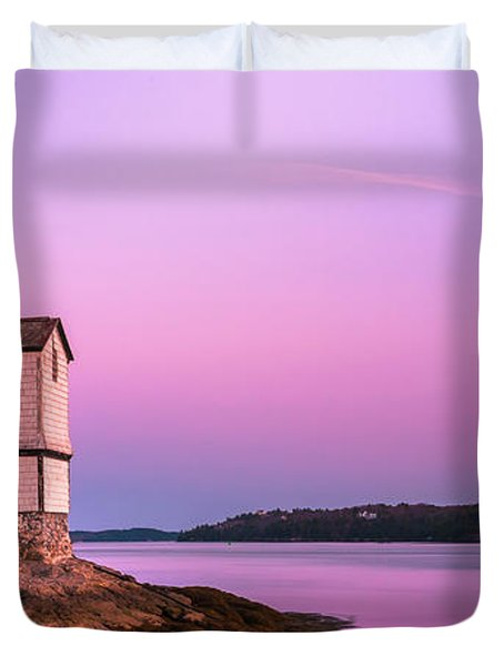 Maine Squirrel Point Lighthouse On Kennebec River Sunset Panorama Duvet Cover